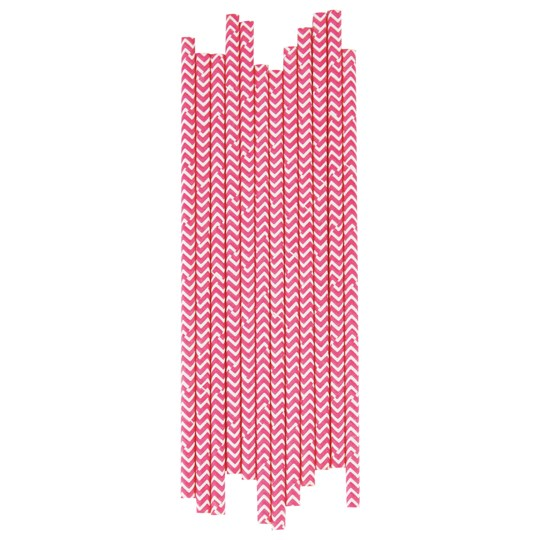 My Little Day 25 Paper Straws - Bright Pink Chevrons bright pink chevrons
