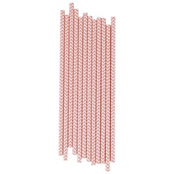 My Little Day 25 Paper Straws - Pink Chevrons
