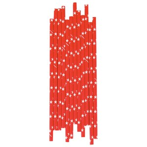 Image of My Little Day 25 Paper Straws - Red /White Stars (2743698209)