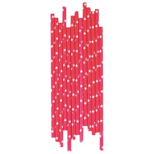 Image of My Little Day 25 Paper Straws - Bright Pink/White Stars (2743698087)