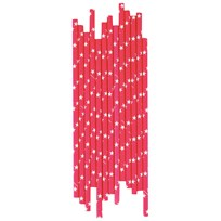 My Little Day 25 Paper Straws - Bright Pink - White Stars bright pink & white stars