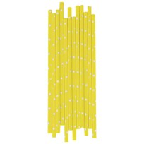 My Little Day 25 Paper Straws - Yellow - White Stars yellow & white stars