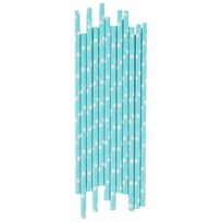 My Little Day 25 Paper Straws - Light Blue/White Stars light blue & white stars