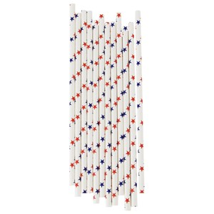 Image of My Little Day 25 Paper Straws - Red & Blue Stars (2743698211)