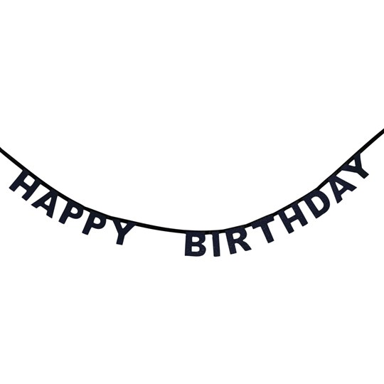 My Little Day Glitter Happy Birthday Garland - Black Black