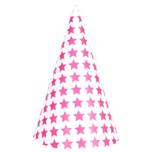 Image of My Little Day 8 Party Hats - Bright Pink Stars (2743696391)