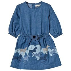 Stella McCartney Kids Skippy Horses Patch Dress Night Sky