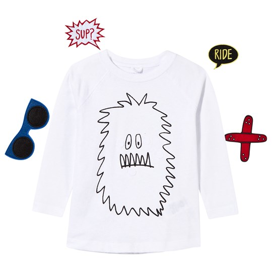 Stella McCartney Kids Max Funny Face Monster Printed Tee Ghost