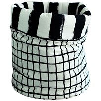 Noe & Zoe Berlin Medium Storage Basket Black Grid & Black Stripes XLBasket M Black Grid & Black Stripes Xl black grid & black stripes XL
