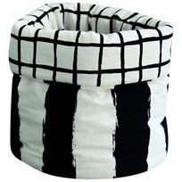 Noe & Zoe Berlin Storage Basket S Black Grid & Black Stripes Xl 25X30 black grid & black stripes XL
