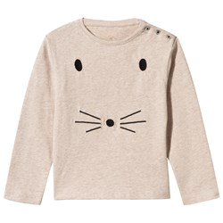 Emile et Ida Sam Long Sleeve Tee With Mouse Face Chataigne