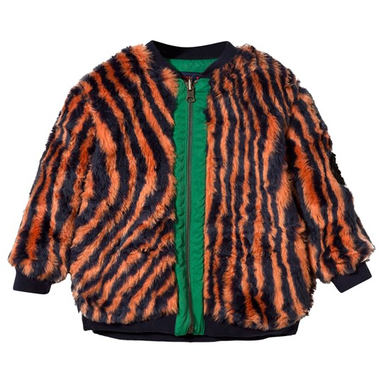 Bobo Choses Hypnotized Reversible Faux Fur Jacket Orange Rust