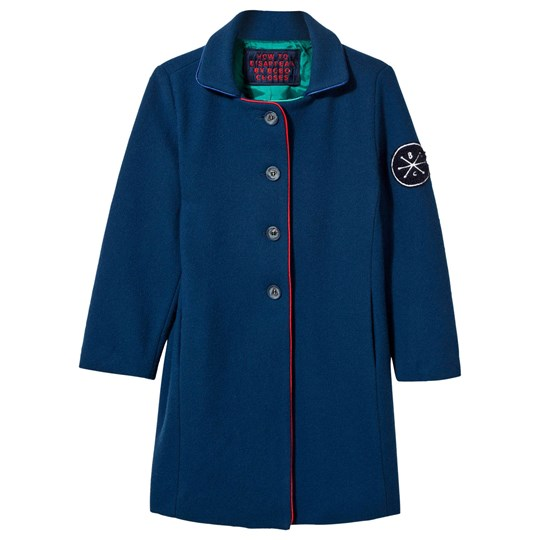 Bobo Choses Blue Wool Coat Black Iris