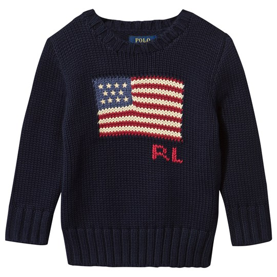 Ralph Lauren Flag Combed Cotton Sweater Hunter Navy