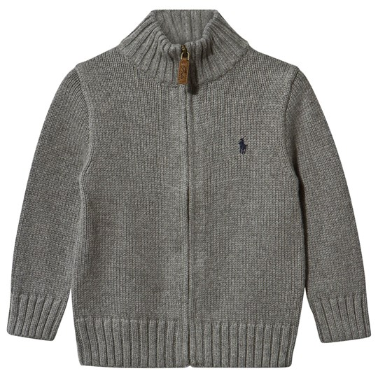 Ralph Lauren Cotton Full Zip Sweater Grey Heather Boulder Grey Heather