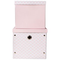 Vinter & Bloom Herringbone Storage Boxes Cameo Pink Rosa