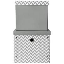 Vinter & Bloom Herringbone Storage Boxes Charcoal Grey серый