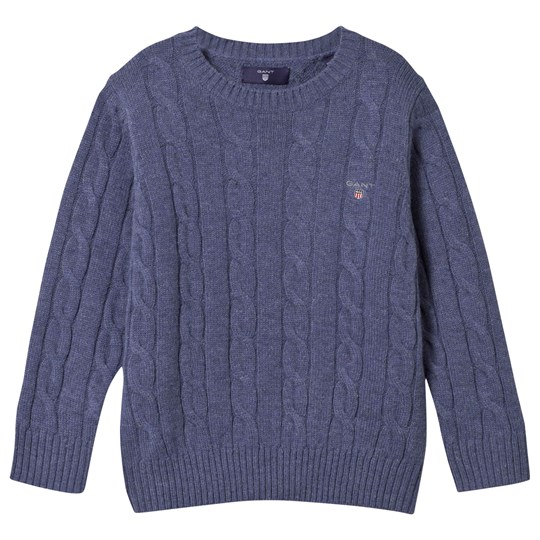 GANT Lambswool Cable Crew Sweater Blue Blue
