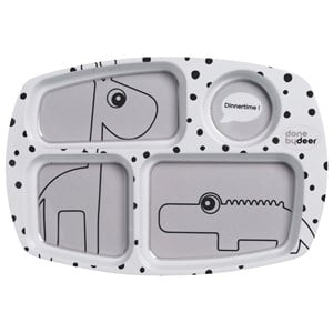Done by Deer Happy Dots Compartment Plate Grey
