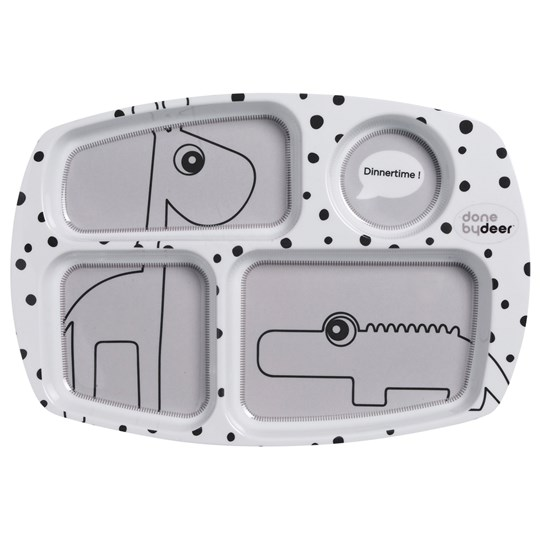 Done by Deer Happy Dots Compartment Plate Grey Black
