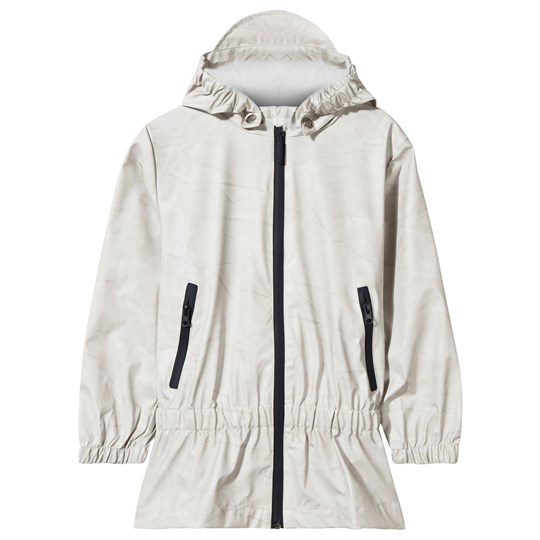 Sways Printed Ruffle Rain Jacket Grey AOP Grey