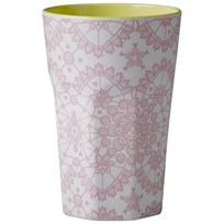 Rice Tall Melamine Cup Coral Lace Print Coral