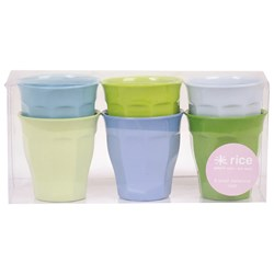 Rice Small Melamine Cup Set Blue/Green Colors