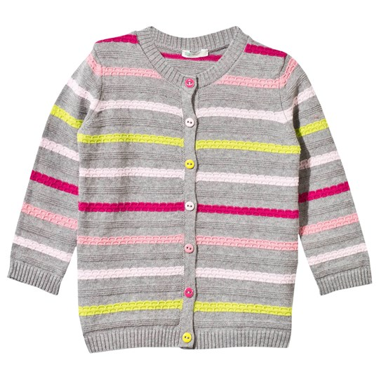 United Colors of Benetton Knitted Striped Cardigan Grey Black