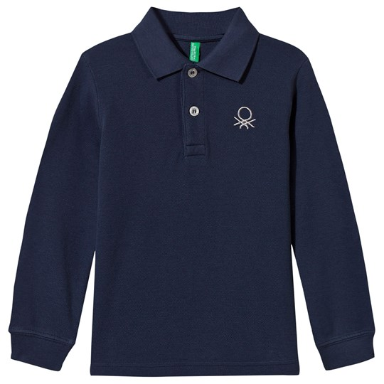 United Colors of Benetton Long Sleeve Polo Shirt Blue Blue