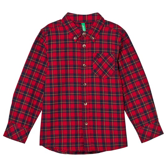 United Colors of Benetton Classic Flannel Shirt Red Rød