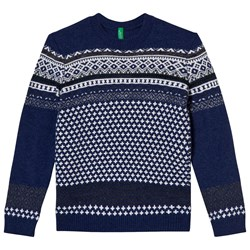 United Colors of Benetton Jaquard knit jumper Navy