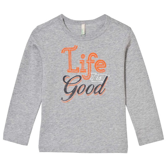 United Colors of Benetton Life Is Good T-Shirt Grey Black