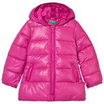 United Colors of Benetton Long Hooded Puffer Jacket Pink Pink