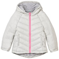 United Colors of Benetton Chevron Hooded Puffer Jacket Grey Musta