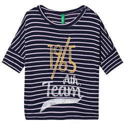 United Colors of Benetton Striped Short Sleeve T-Shirt Navy