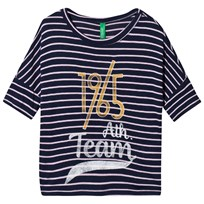 United Colors of Benetton Striped Short Sleeve T-Shirt Navy Navy