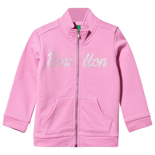 United Colors of Benetton Glitter Logo Zip Sweater Pink Pink