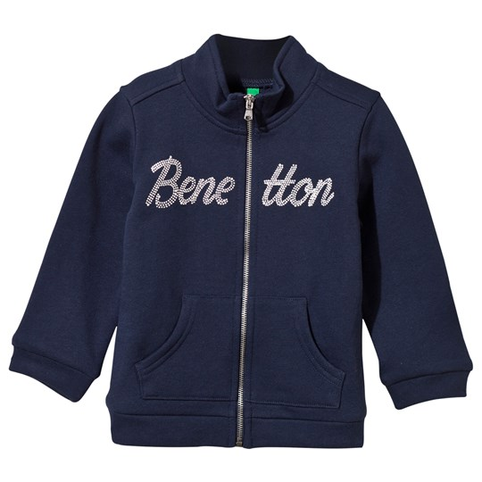 United Colors of Benetton Glitter Logo Zip Sweater Navy Navy