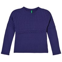 United Colors of Benetton Oversized Stickad Tröja Lila Purple
