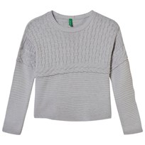 United Colors of Benetton Oversized Knit Sweater Grey Black