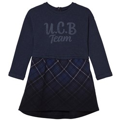 United Colors of Benetton Sweat Dress With Checked Skirt Navy
