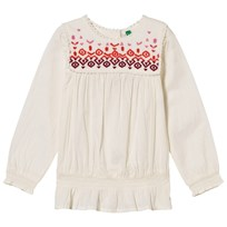 United Colors of Benetton Broderad Blus Vit White