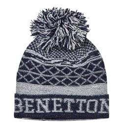 United Colors of Benetton Pom Pom Knit Hat Navy/White
