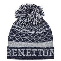 United Colors of Benetton Pom Pom Knit Hat Navy/White Marinblå