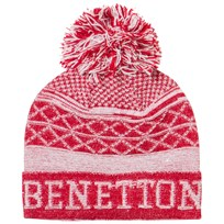 United Colors of Benetton Pom Pom Knit Hat Red/White Rød