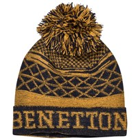 United Colors of Benetton Pom Pom Knit Hat Mustard/Navy Yellow