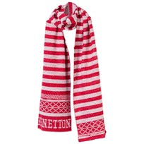 United Colors of Benetton Scarf White/Red Rød