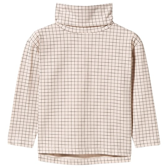 Tinycottons Medium Grid Turtle Neck Long Sleeve Tee Beige/Black beige/black