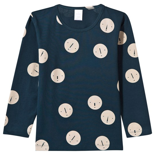 Tinycottons Faces Long Sleeve Tee Navy/Beige navy/beige
