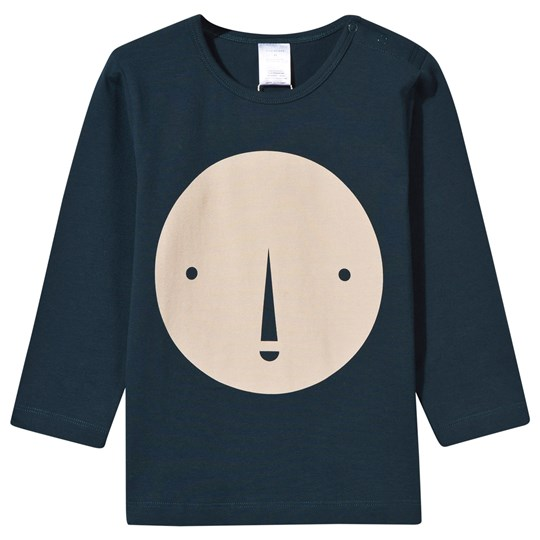 Tinycottons Round Face Graphic Long Sleeve Tee Navy/Beige navy/beige